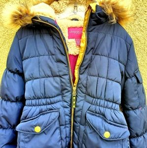 LONDON FOG Puffer Jacket with Faux Fur Girl S